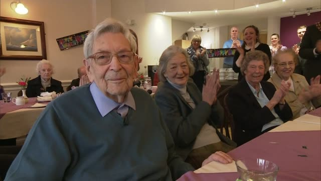 britain's oldest men celebrate their 110th birthdays on the same day england hampshire int various of 110 year old bob weighton at birthday party... - perthshire stock videos & royalty-free footage