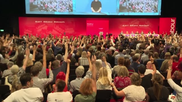 britain's opposition labour party narrowly rejects a grass roots attempt to force leader jeremy corbyn to campaign to remain in the european union... - labour party stock videos & royalty-free footage