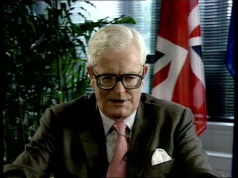 britain's position on maastricht treaty; usa new york cms douglas hurd mp intvwd sof - the question of when we ratify the treaty is a false issue /... - douglas hurd stock-videos und b-roll-filmmaterial