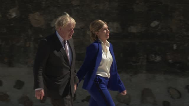 britain's prime minister boris johnson and his wife carrie johnson leave after greeting guests at an official welcome at the g7 summit in carbis bay... - image stock videos & royalty-free footage