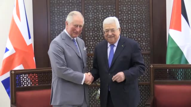 "britain's prince charles, prince of wales, meets with palestinian president mahmoud abbas in bethlehem, west bank on january 24, 2020. ""the prince of... - archival stock videos & royalty-free footage"