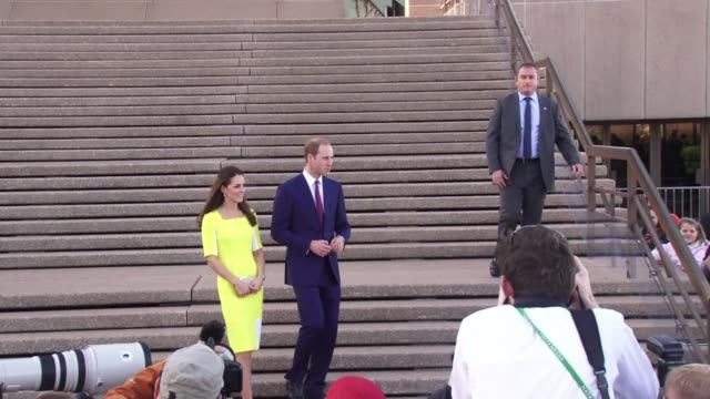 britains prince william and wife kate charm a welcoming crowd at the sydney opera house as they begin the australian leg of a tour down under - bennelong point stock videos and b-roll footage