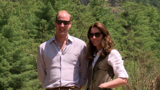 Britains Prince William and wife Kate trek to Paro Taktshang also known as the Tigers Nest monastery on their second day visit in Bhutan