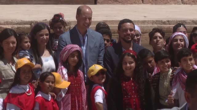 Britain's Prince William Duke of Cambridge and Jordanian Crown Prince Hussein bin Abdullah visit the Jerash archaeological site Jordan on June 25...
