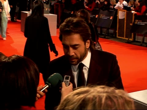 british academy film and television awards arrivals and interviews javier bardem speaking to media - javier bardem stock videos and b-roll footage