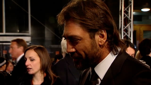british academy film and television awards red carpet arrivals javier bardem interview sot - javier bardem stock videos and b-roll footage