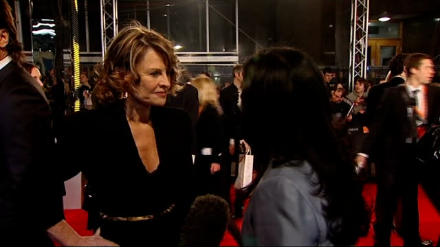 british academy film and television awards red carpet arrivals julie christie interview sot - 2008 stock videos & royalty-free footage