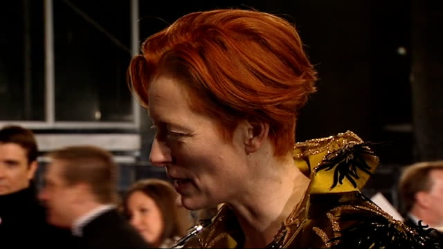 British Academy Film and Television Awards red carpet arrivals Tilda Swinton chatting on red carpet and interview SOT