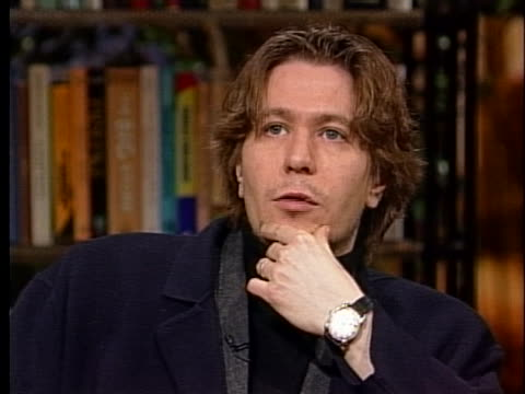 """british actor gary oldman discusses his new film """"rosencrantz and guildenstern are dead"""". - gary oldman stock videos & royalty-free footage"""