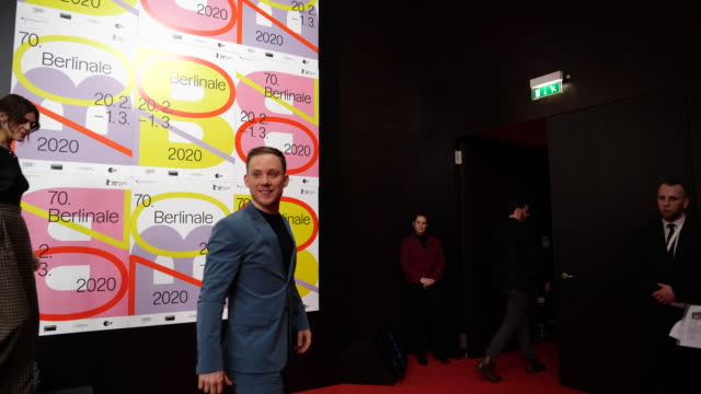 british actor joe cole leaves a press conference for the film one of these days screened in the panorama category and autographs on february 22 2020... - projection screen stock videos & royalty-free footage