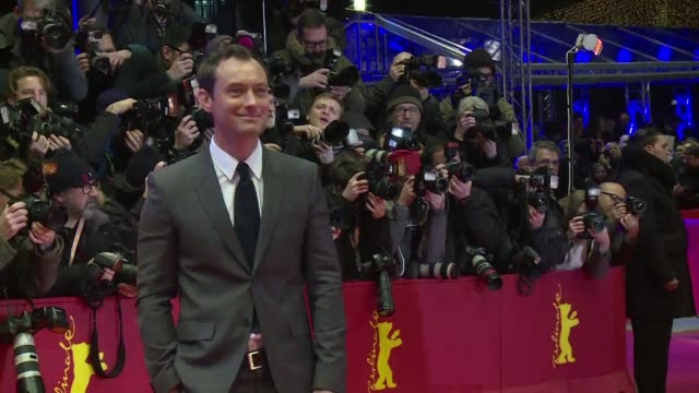 british actors colin firth and jude law walked the red carpet at the berlin film festival ahead of the release of their new film genius which tells... - f. scott fitzgerald writer stock videos and b-roll footage