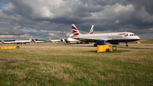 british airways aircrafts taxi at heathrow airport on october 11, 2016 in london, england. the uk government has said it will announce a decision on... - air vehicle stock videos & royalty-free footage