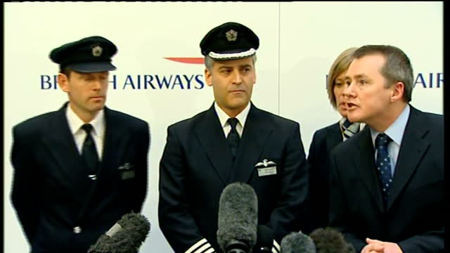 british airways boeing 777 crash landing at heathrow: captain peter burkill press conference / crew photocall; england: london: heathrow: british... - high speed photography stock videos & royalty-free footage