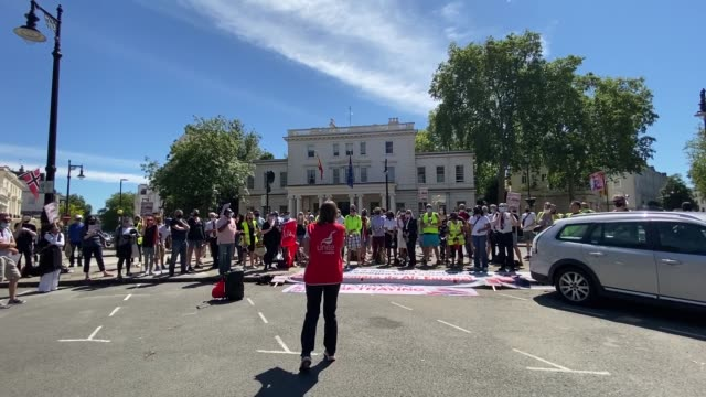 british airways staff gathered outside the spanish embassy in london on thursday to protest against the international airline group , a spanish flag... - group of people stock videos & royalty-free footage