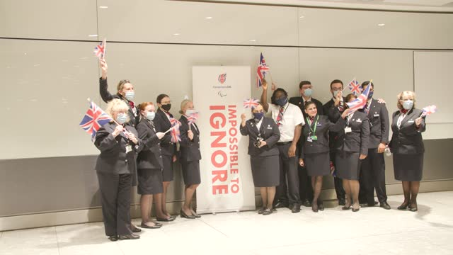 british airways team wait for the arrival of the paralympians back into the uk at heathrow on september 06, 2021 in london, england. team gb ranked... - persons with disabilities stock videos & royalty-free footage
