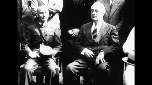 british and chinese military officers / chiang kai-shek, franklin d. roosevelt and winston churchill - allied forces stock videos & royalty-free footage