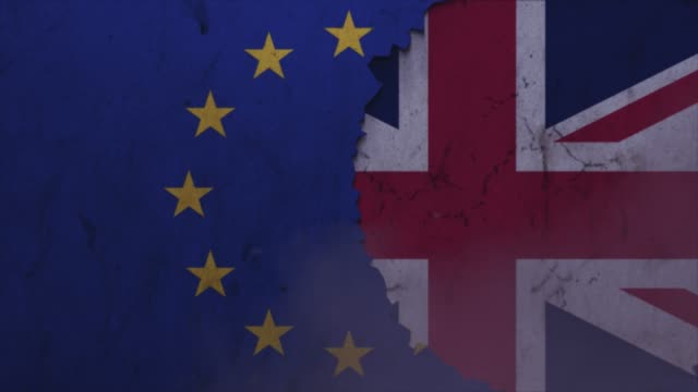 british and european union flags on the stone wall stock video - politics illustration stock videos & royalty-free footage
