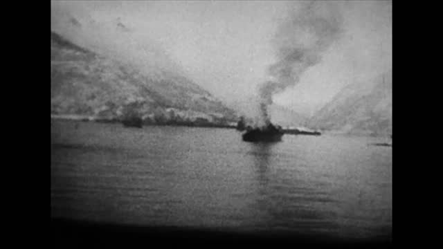 british and french forced landing on norwegian coast in namsos / naval battle at narvik / british taking first german pows at narvik/ air bombardment... - battle stock videos & royalty-free footage