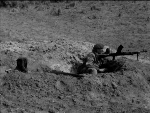 British and French troops dug into positions following invasion to force reopening of Suez Canal Egypt 12 Nov 56