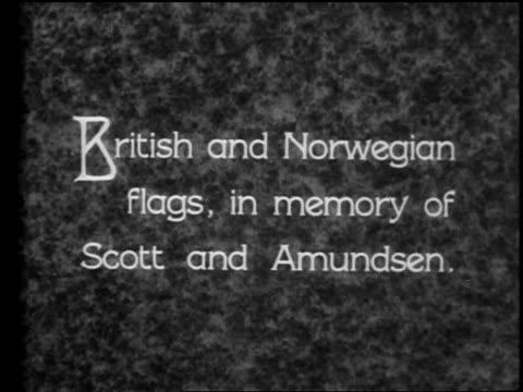 "british and norwegian flags, in memory of scott and amundsen"" / documentary - anno 1928 video stock e b–roll"