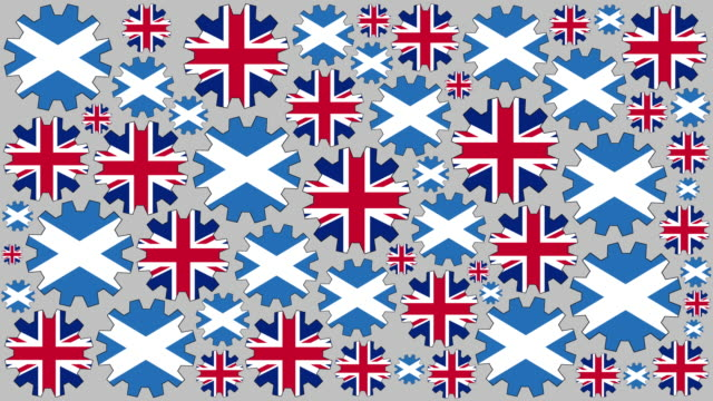 british and scottish flag gears spinning background - scottish flag stock videos & royalty-free footage