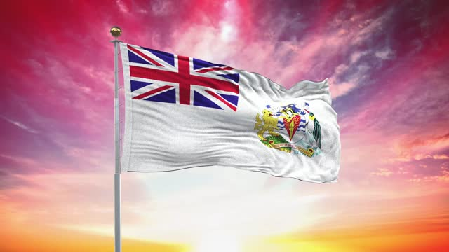 british antarctic flag, loopable, included green screen chroma key version, waving in wind slow motion animation, 4k realistic fabric texture, continuous seamless loop background - british royalty stock videos & royalty-free footage