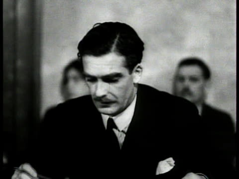 British Anthony Eden sitting in chambers HA WS Delgates in room seated at table