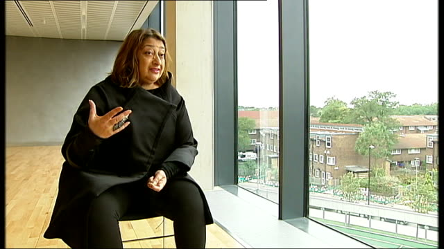 British architecture remains profession dominated by men View of building exterior schoolboy seen through window Zaha Hadid 2 SHOT and interview SOT...