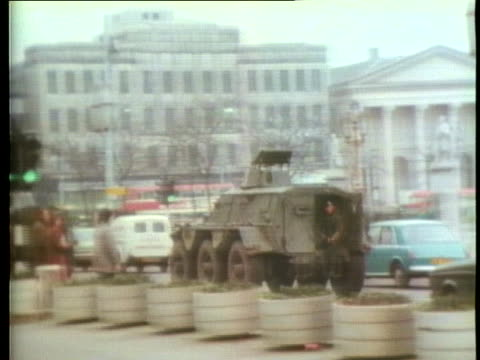 british armored vehicles patrol the streets of belfast. - (war or terrorism or election or government or illness or news event or speech or politics or politician or conflict or military or extreme weather or business or economy) and not usa stock videos & royalty-free footage