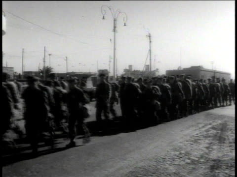british army soldiers marching on road / suez, egypt - canal do suez stock videos & royalty-free footage