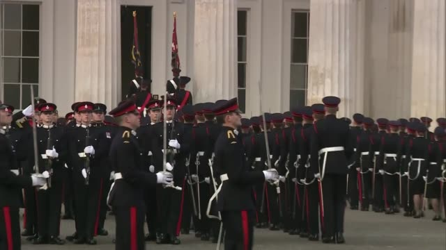 British Army struggling to meet recruitment targets ENGLAND Berkshire Sandhurst EXT Soldiers marching in procession Prince William Duke of Cambridge...