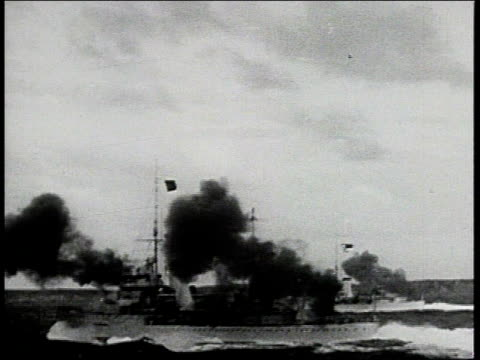 british army troops parading in formation / explosion as royal navy ship fires big guns / swordfish biplanes taking off from royal navy aircraft... - british military stock videos & royalty-free footage