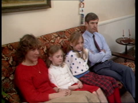 stockvideo's en b-roll-footage met british astronaut nigel wood profile; england nigel wood, irene and daughters walking dogs towards tms family seated on sofa at home tcms irene wood... - itv