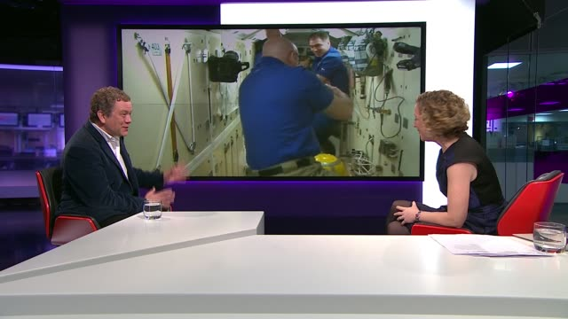british astronaut tim peake joins crew on space station england london gir jon culshaw live studio interview sot [in front of plasma screen of... - jon culshaw stock videos & royalty-free footage