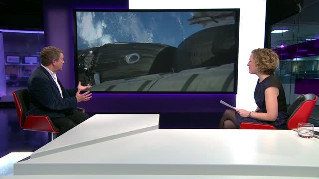 british astronaut tim peake joins crew on space station england london gir jon culshaw live studio interview sot - キャシー・ニューマン点の映像素材/bロール