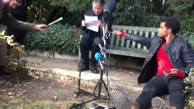 british author kazuo ishiguro who has won this year's nobel prize in literature answers questions from the media as he sits on a bench in the garden... - nobel prize in literature stock videos & royalty-free footage