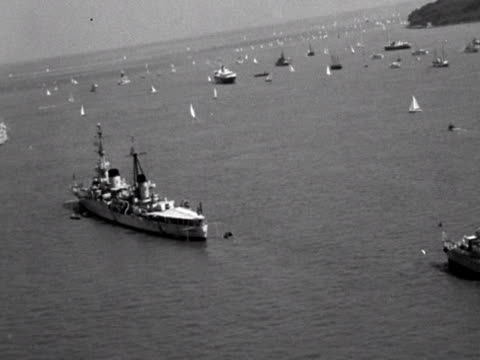 british battleships are moored near the coast of the isle of wight for cowes week - isle of wight stock videos and b-roll footage
