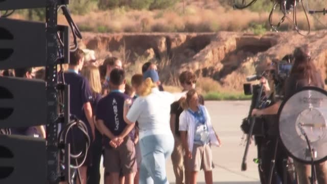 british billionaire richard branson arrives at spaceport america near truth or consequences, new mexico, hours before his voyage to the border of... - new mexico stock videos & royalty-free footage