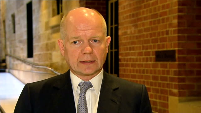 british bp workers held hostage by militant group england london ext william hague mp interview sot - アルジェリア人質事件点の映像素材/bロール
