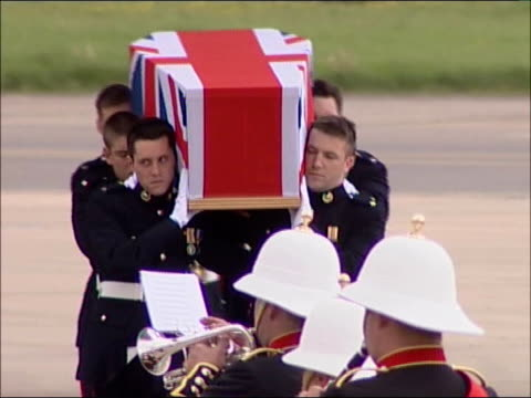 two journalists and two soldiers killed lib england oxfordshire raf brize norton coffin of one of five british soldier killed in basra is carried... - oxfordshire stock videos & royalty-free footage