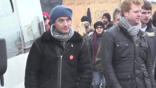 british celebrities including jude law and playwright tom stoppard give performances at the jungle migrant camp in northern france to draw attention... - scriptwriter stock videos & royalty-free footage