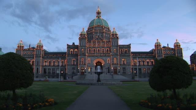 WS, British Columbia Parliament Buildings illuminated at dusk, Victoria, British Columbia, Canada