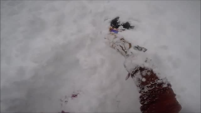 british columbia resident nigel beaupre captured gopro video of himself rescuing a friend who was buried under a snowbank in whistler on january 21.... - https stock videos & royalty-free footage