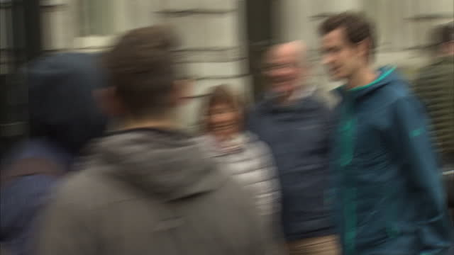British Davis Cup winning team welcomed to Downing Street Shows exterior shots Andy Murray arriving at Downing Street on December 01 2015 in London...