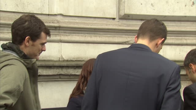 British Davis Cup winning team welcomed to Downing Street Shows exterior shots Jamie Murray waiting on Whitehall being let through security into...