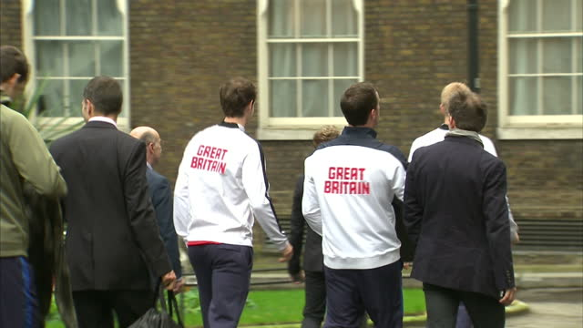 British Davis Cup winning team welcomed to Downing Street Shows exterior shots Davis Cup winning Great Britain team leaving number 10 walking down...