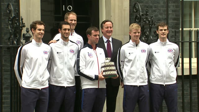 British Davis Cup winning team welcomed to Downing Street Shows exterior shots Great Britain Davis Cup winning team posing with trophy outside 10...