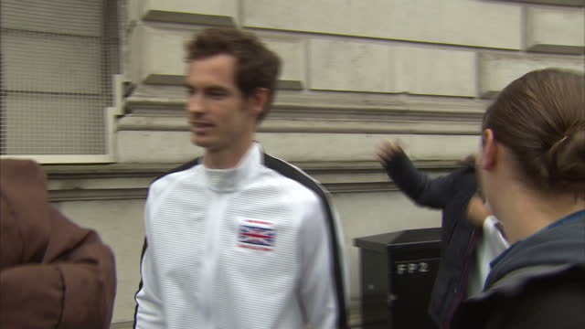 British Davis Cup winning team welcomed to Downing Street Shows exterior shots Great Britain Davis Cup team departing Downing Street Andy Murray...