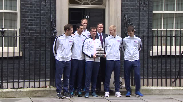 British Davis Cup winning team welcomed to Downing Street Shows exterior shots Davis Cup winning Great Britain team with David Cameron outside 10...