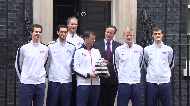 British Davis Cup winning team welcomed to Downing Street Shows exterior shots Great Britain Davis Cup team lining up for photo op outside 10 Downing...